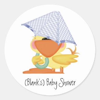 Baby Shower Invitation-Blue Duck/Quackup Round Sticker
