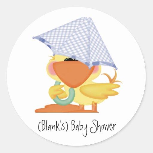 Baby Shower Invitation-Blue Duck/Quackup Sticker