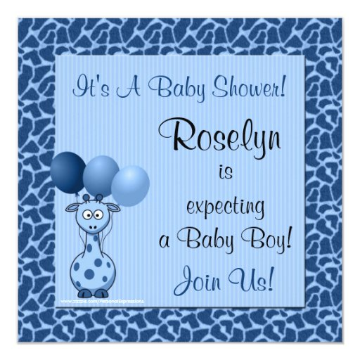 Baby Shower Invitation Blue Giraffe