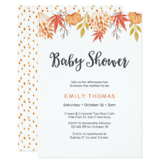 Baby Shower Invitation | Fall autumn florals