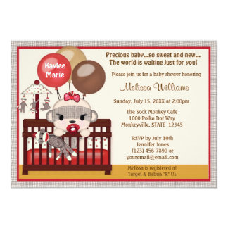 Baby Shower invitation GIRL Sock MONKEY Crib SMC-G
