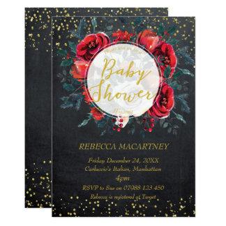 baby shower invitation gold glitter winter floral