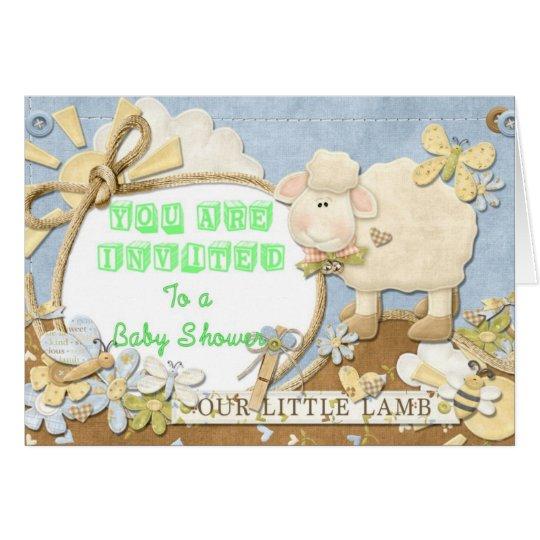 Baby Shower Invitation Green Little Lamb