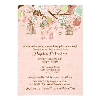 Baby Shower Invitation - Hanging Cages Jars Pink