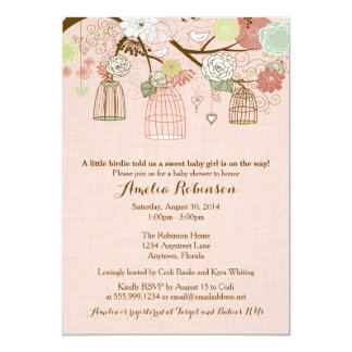 "Baby Shower Invitation - Hanging Cages & Jars Pink 5"" X 7"" Invitation Card"