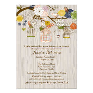Baby Shower Invitation - Hanging Cages Jars Wood