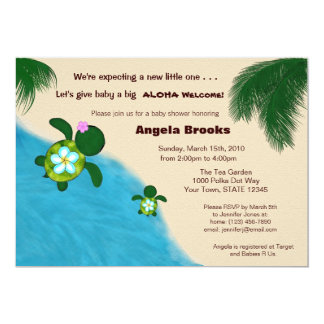 Baby Shower Invitation (Honu) Adorable Turtle BLUE