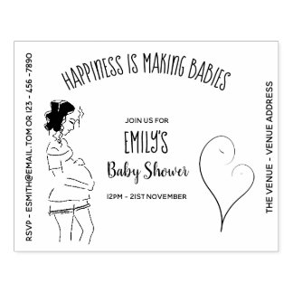 Baby SHOWER Invitation INK STAMP - DIY Pregnancy