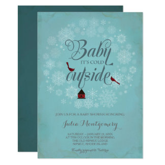 Baby Shower Invitation, It's Cold Outside, Winter Card