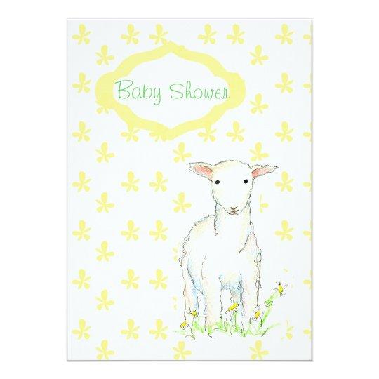 Baby Shower Invitation Lamb Farm Animal Drawing