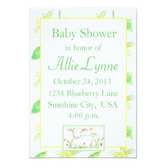 Baby Shower Invitation Lamb Sheep Yellow Flowers