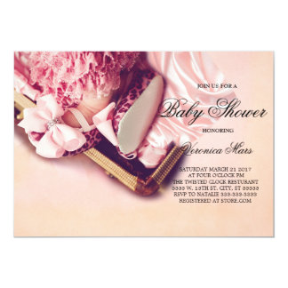 Baby Shower invitation, Leopard baby shoes Card