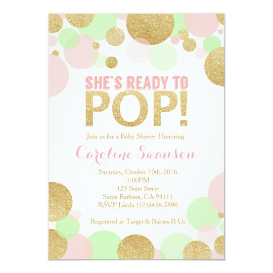Baby Shower Invitation Pink Gold Mint Polka Dots