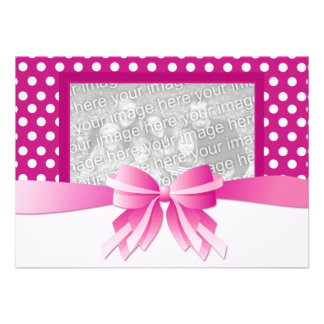 Baby Shower Invitation Pink Polka Dots with Bow