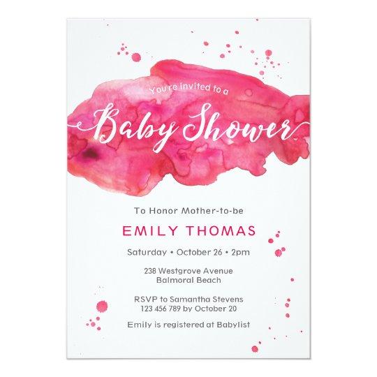 Baby Shower Invitation | pink watercolor splash