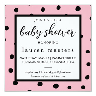 Baby Shower Invitation Polka Dot Blue Pink