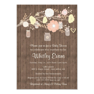 Baby shower invitation, rustic floral mason jars card