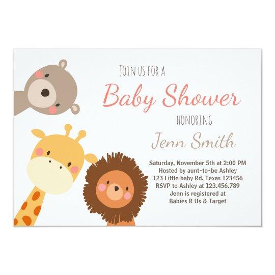 Baby Shower invitation Safari Zoo Jungle Lion Bear