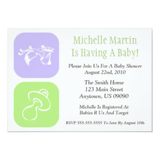 Baby Shower Invitation Stork/Pacifier Purple/Green