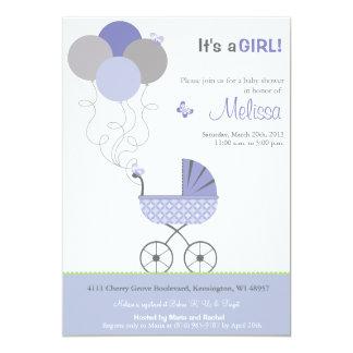 Baby Shower Invitation - Stroller & Balloons