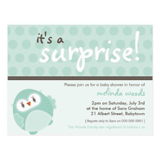 Blank Owl Baby Shower Invitations: BABY SHOWER INVITATION :: Surprise Owl 3