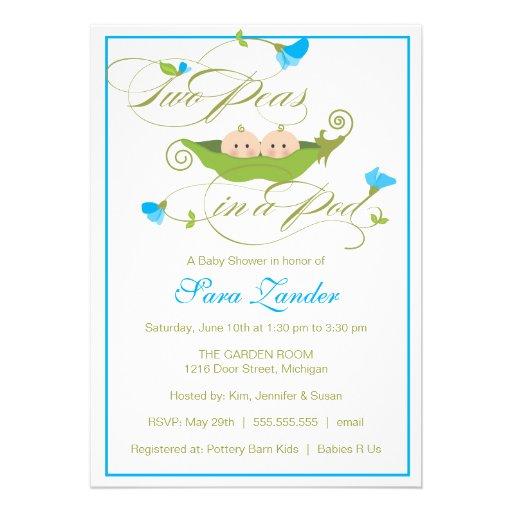 Baby Shower Invitation - Twin Boys Pea in a Pod