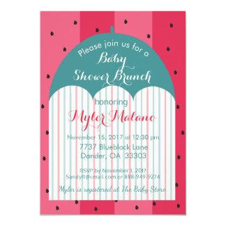 "Baby Shower Invitation ""Watermelon Umbrella"""