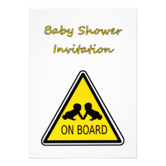 Baby Shower Invitation with baby twins on board