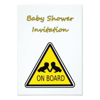 "Baby Shower Invitation with baby twins on board 5"" X 7"" Invitation Card"