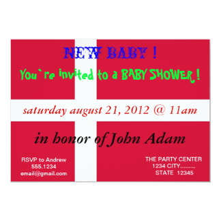 Baby Shower Invitation with Flag of Denmark