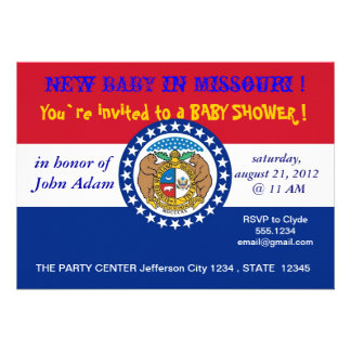 Baby Shower Invitation with Flag of Missouri