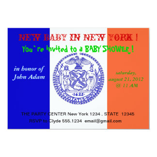 "Baby Shower Invitation with Flag of New York 5"" X 7"" Invitation Card"
