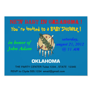 Baby Shower Invitation with Flag of Oklahoma