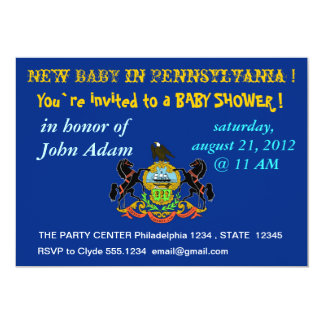 Baby Shower Invitation with Flag of Pennsylvania