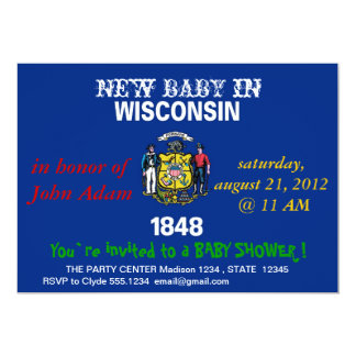 Baby Shower Invitation with Flag of Wisconsin