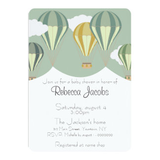 Baby Shower Invitation with hot air balloons