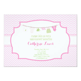 Baby Shower Invitation with pink baby clothes