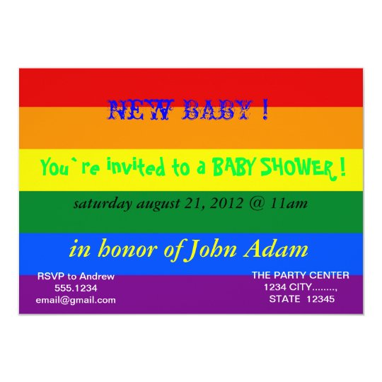 Baby Shower Invitation with Rainbow Flag