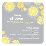 Baby Shower Invitation | Yellow Grey Daisy Delight 13 Cm X 13 Cm Square Invitation Card