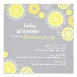 Baby Shower Invitation | Yellow Grey Daisy Delight