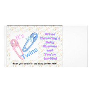 BABY SHOWER INVITATIONS FOR TWINS PHOTO GREETING CARD