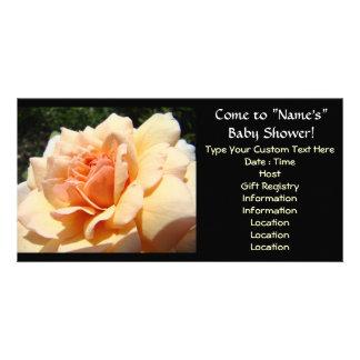 Baby Shower invitations Peach Rose Flower Photo Card