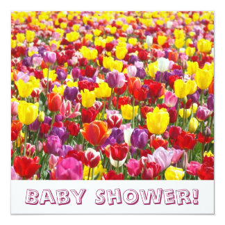 "Baby Shower Invitations Spring Tulip Flowers 5.25"" Square Invitation Card"
