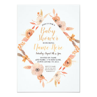 Baby Shower Invite Autumn Fall Auburn Floral