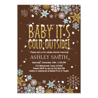 Baby Shower invite Baby it's cold outside Gold