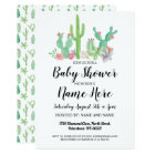 Baby Shower Invite Cactus Print Watercolor