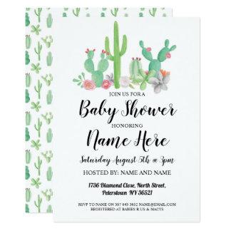 Baby Shower Invite Cactus Print Watercolor