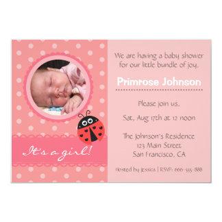 "Baby Shower Invite: Cute Ladybug & Pink Polka Dots 5"" X 7"" Invitation Card"