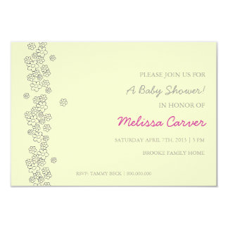 "Baby Shower Invite | Flowers |iv 3.5"" X 5"" Invitation Card"