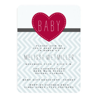 Baby Shower Invite | Modern Chevron Heart